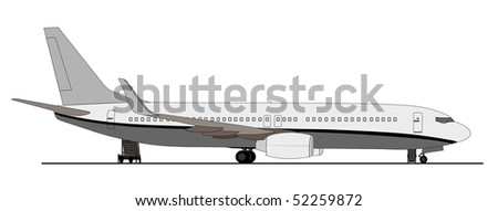 Airplane on ramp with ground equipment - stock vector
