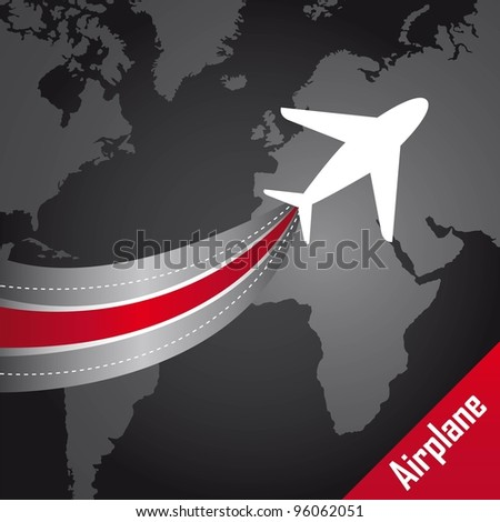 airplane over map over black background. vector illustration - stock vector