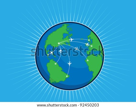 Airplane Route Around the World Globe - stock vector