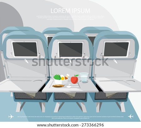 Airplane seats with opened tables, food and drink - vector illustration - stock vector