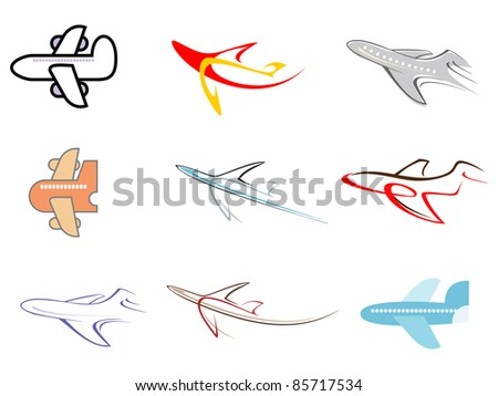 Airplane - set of isolated vector icons. - stock vector