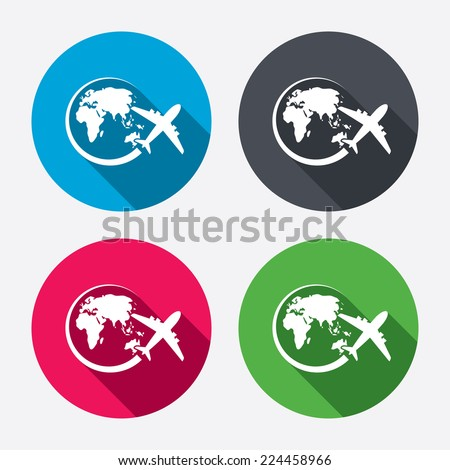 Airplane sign icon. Travel trip round the world symbol. Circle buttons with long shadow. 4 icons set. Vector - stock vector