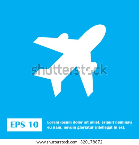 Airplane sign. Plane symbol. Travel icon. Flight flat label - stock vector
