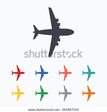 Airplane sign. Plane symbol. Travel icon. Flight flat label. Colored flat icons on white background. - stock vector