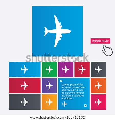 Airplane sign. Plane symbol. Travel icon. Flight flat label. Metro style buttons. Modern interface website buttons with hand cursor pointer. Vector - stock vector