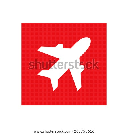 Airplane sign. Plane symbol. Travel icon. Flight flat label. red square button. - stock vector