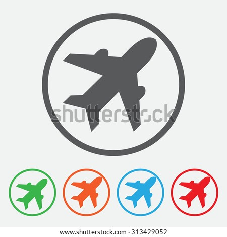 Airplane sign. Plane symbol. Travel icon. Flight flat label.  Round Button Collection.  - stock vector