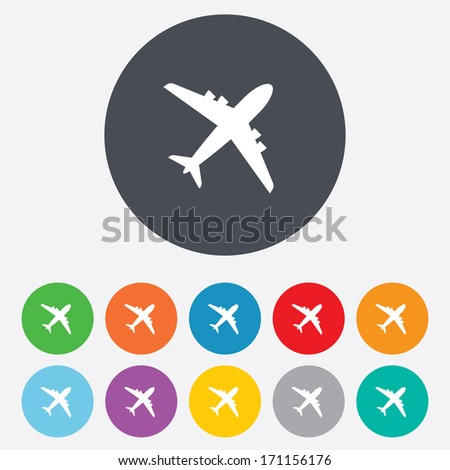 Airplane sign. Plane symbol. Travel icon. Flight flat label. Round colourful 11 buttons. Vector - stock vector
