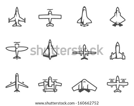 Airplane silhouette icons in black & white - stock vector