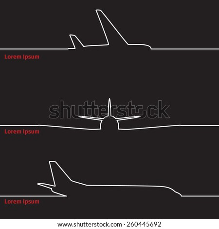 Airplane silhouette on a advertising card, vector illustration - stock vector