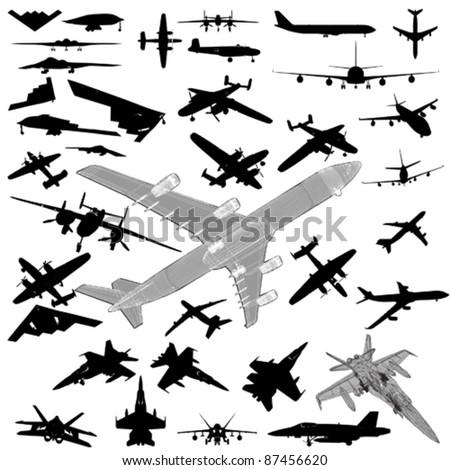airplane silhouette set - stock vector
