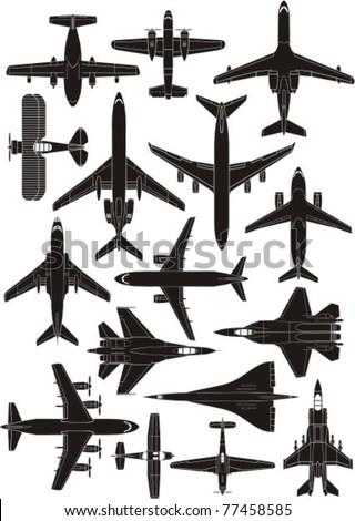 airplane silhouettes - stock vector