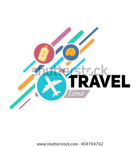 Airplane symbol and place for your text. Travel background. Easy to edit design template. - stock vector