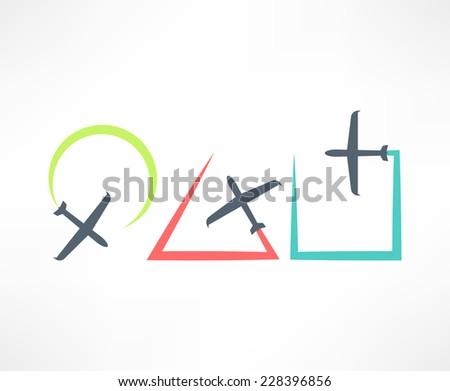Airplane symbol. Design logo. - stock vector