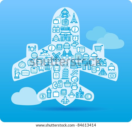Airplane symbol made from small travel,landmark icons - stock vector