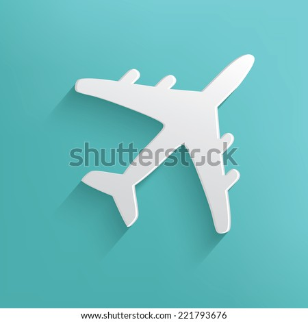 Airplane symbol on blue background,clean vector - stock vector