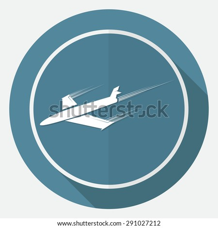 airplane symbol on white circle with a long shadow - stock vector