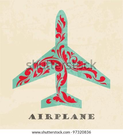 Airplane symbol. Retro poster - stock vector