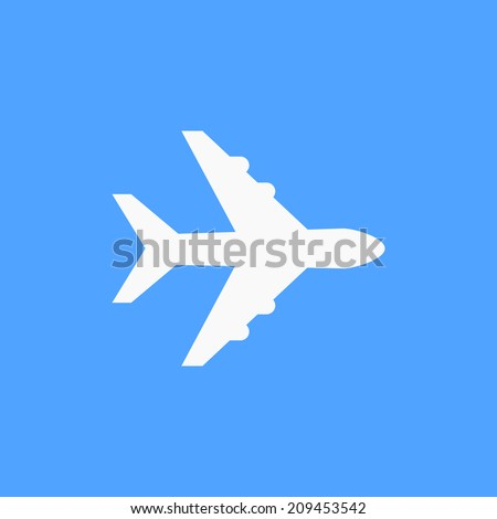 Airplane symbol. White airplane icon, on blue sky background. Use for banner, card, poster, brochure, banner, app, web design. Easy to edit. Vector illustration - EPS10. - stock vector