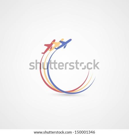 airplane symbols - stock vector