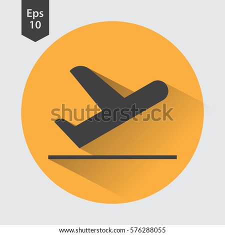 Airplane Takeoff Vector Icon In Circle Departure Flight Web Flat Symbol Style