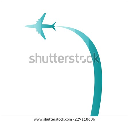Airplane three colors - stock vector