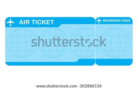 Airplane ticket blank space. Blue boarding pass coupon isolated on white background. Detailed blank of plane ticket. Vector illustration.  - stock vector