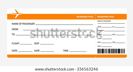 Airplane ticket blank space. orange boarding pass coupon isolated on white background. Detailed blank of plane ticket. Vector illustration - stock vector