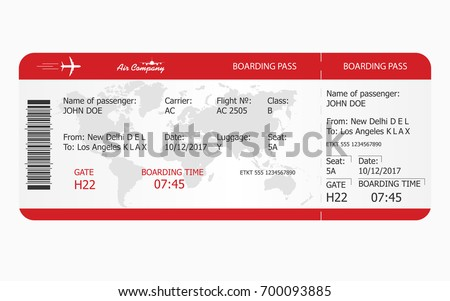 flight ticket template gift - airplane ticket boarding pass ticket template stock vector