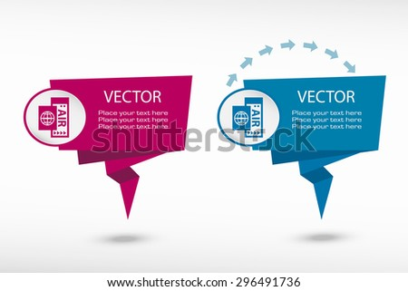 Airplane ticket icon on origami paper speech bubble or web banner, prints. Vector illustration - stock vector