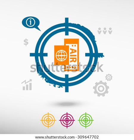 Airplane ticket icon on target icons background. Flat illustration. - stock vector