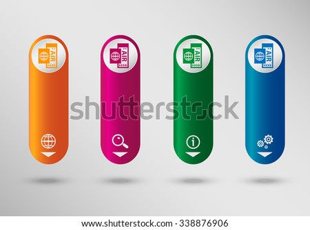 Airplane ticket icon on vertical infographic design template, can be used for workflow layout, web design - stock vector