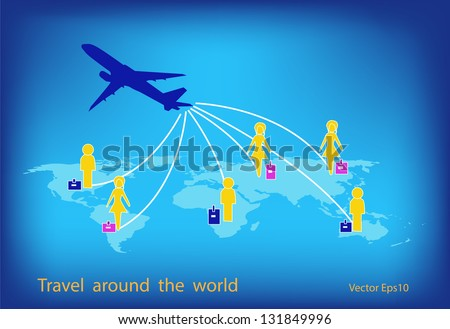 Airplane travel around the world with global background,vector eps10