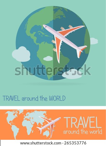 Airplane travel concept - stock vector