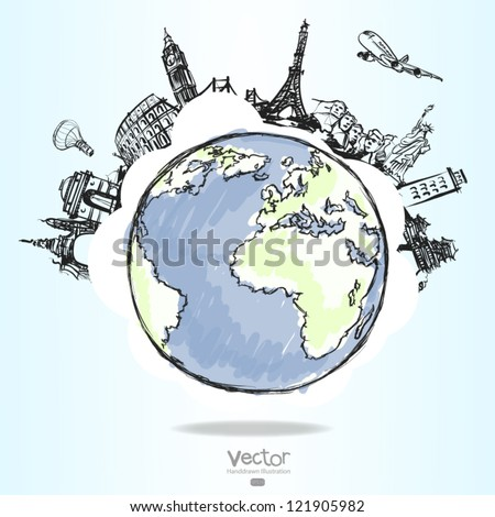 airplane traveling around the world as concept - stock vector
