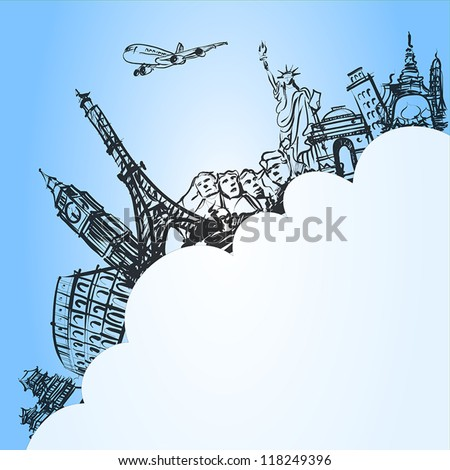 airplane traveling concept,vector - stock vector