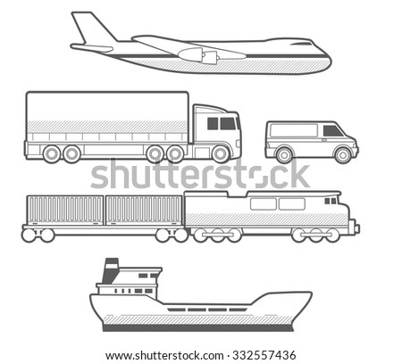 Airplane, truck, car, ship, train. Black and white vector set transportation  illustration for business, info graphic, web, banner, presentations. - stock vector