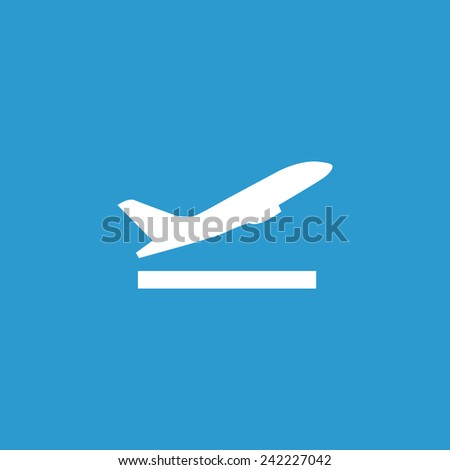 airplane up icon, isolated, white on the blue background. Exclusive Symbols  - stock vector