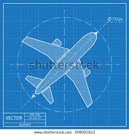 Airplane vector blueprint icon stock vector 398005822 shutterstock airplane vector blueprint icon malvernweather Choice Image
