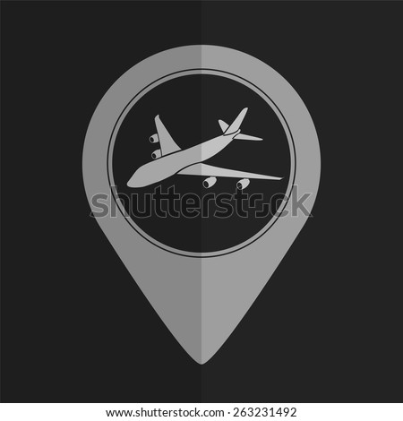 Airplane vector icon - map pointer. Flat design - stock vector