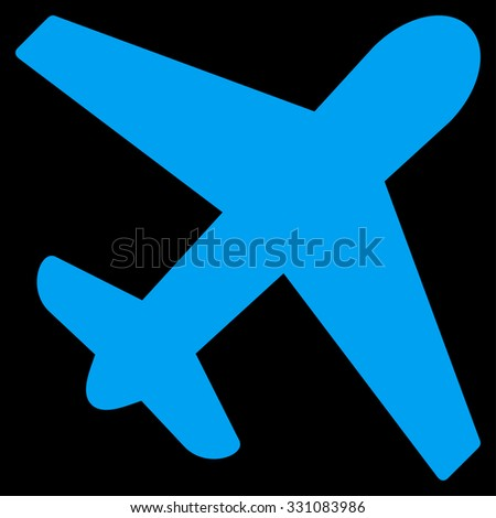 Airplane vector icon. Style is flat blue symbol, rounded angles, black background.