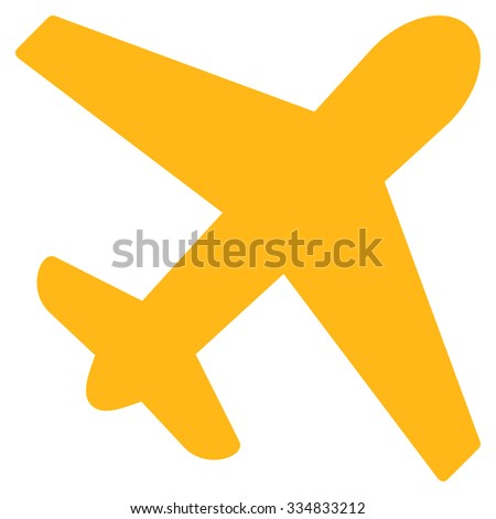 Airplane vector icon. Style is flat yellow symbol, rounded angles, white background.