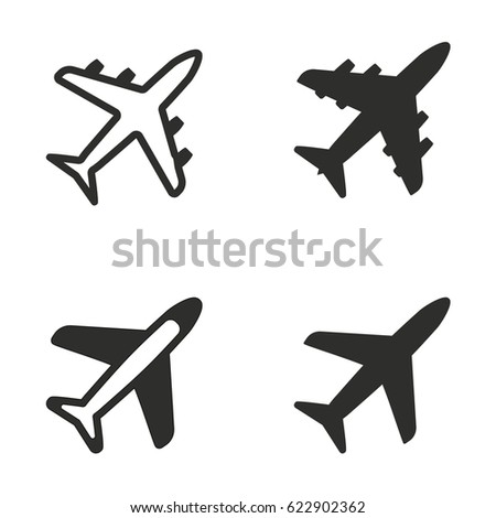 airplane vector icons set black illustration stock vector royalty