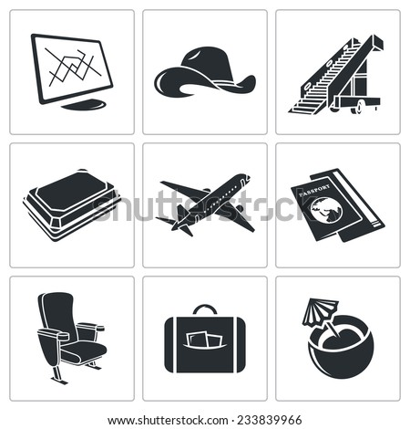 Airplane Vector Isolated Flat Icons Set - stock vector