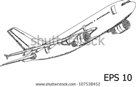 Airplane Vector Line Illustrator, EPS 10. - stock vector
