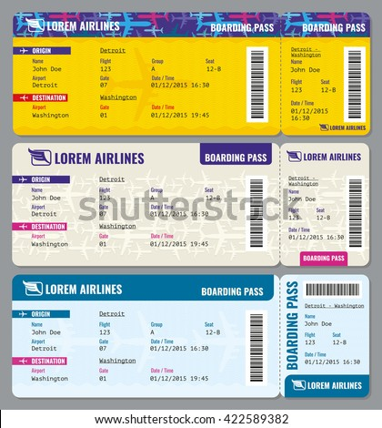 Airplane Vector Traveling Tickets Template Ticket Stock Vector ...