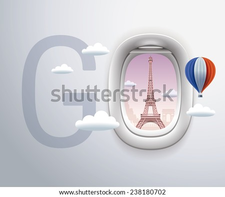 Airplane Window, Exclusive,Travel, Eiffel Tower, Paris - stock vector