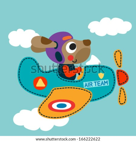 Airplane with a cute dog. Vector illustration - stock vector