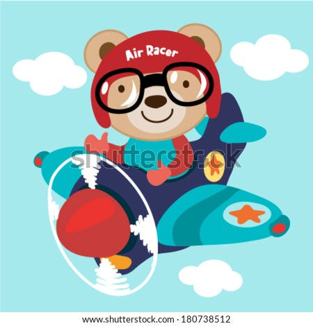 Airplane with a teddy bear. Vector illustration - stock vector