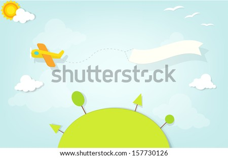 airplane with an advertising banner flies over the hill - stock vector